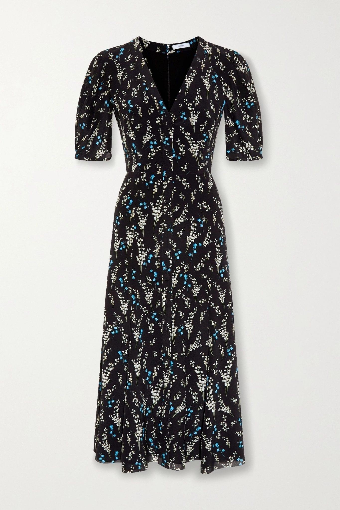 ERDEM Gracelyn Floral-print Silk Crepe De Chine Midi Dress