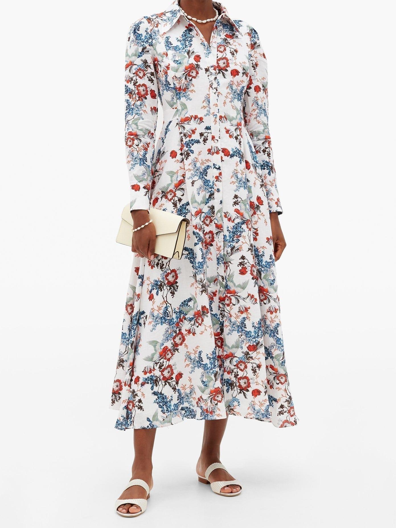 ERDEM Josianne Bird Blossom-print Linen Midi Shirt Dress