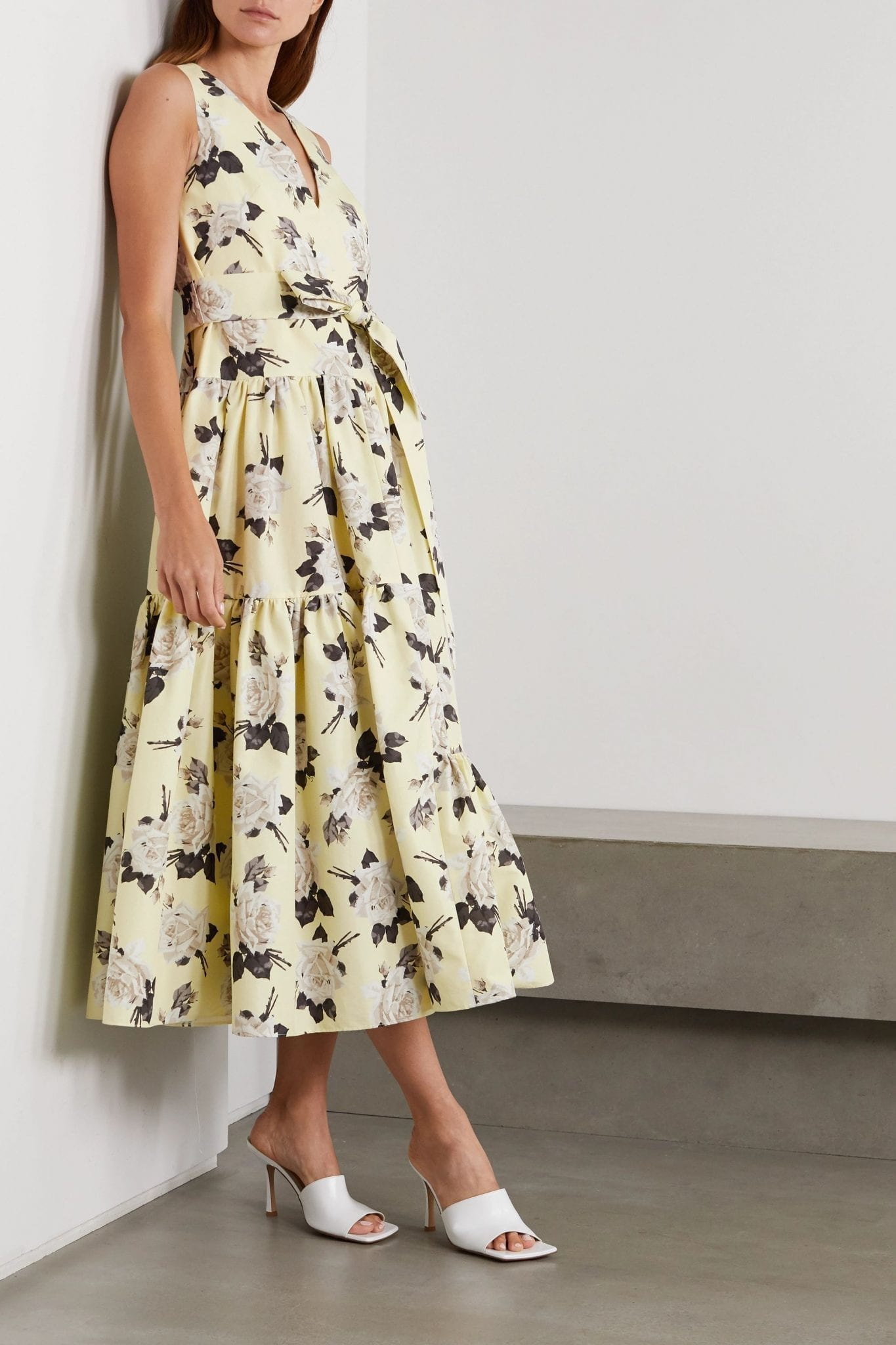 ERDEM Mimosa Belted Floral-print Cotton-twill Midi Dress