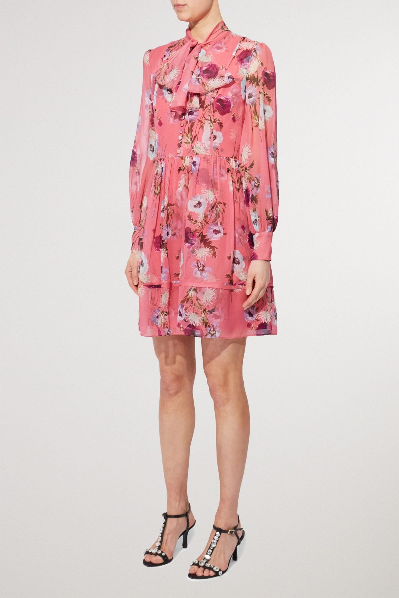 ERDEM Remy Pussy-bow Floral-print Silk Crepe De Chine Mini Dress