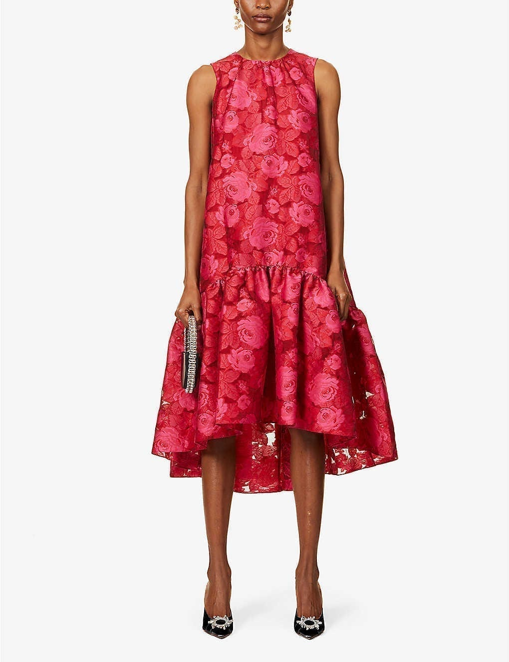 ERDEM Winsloe Floral-print Woven Midi Dress