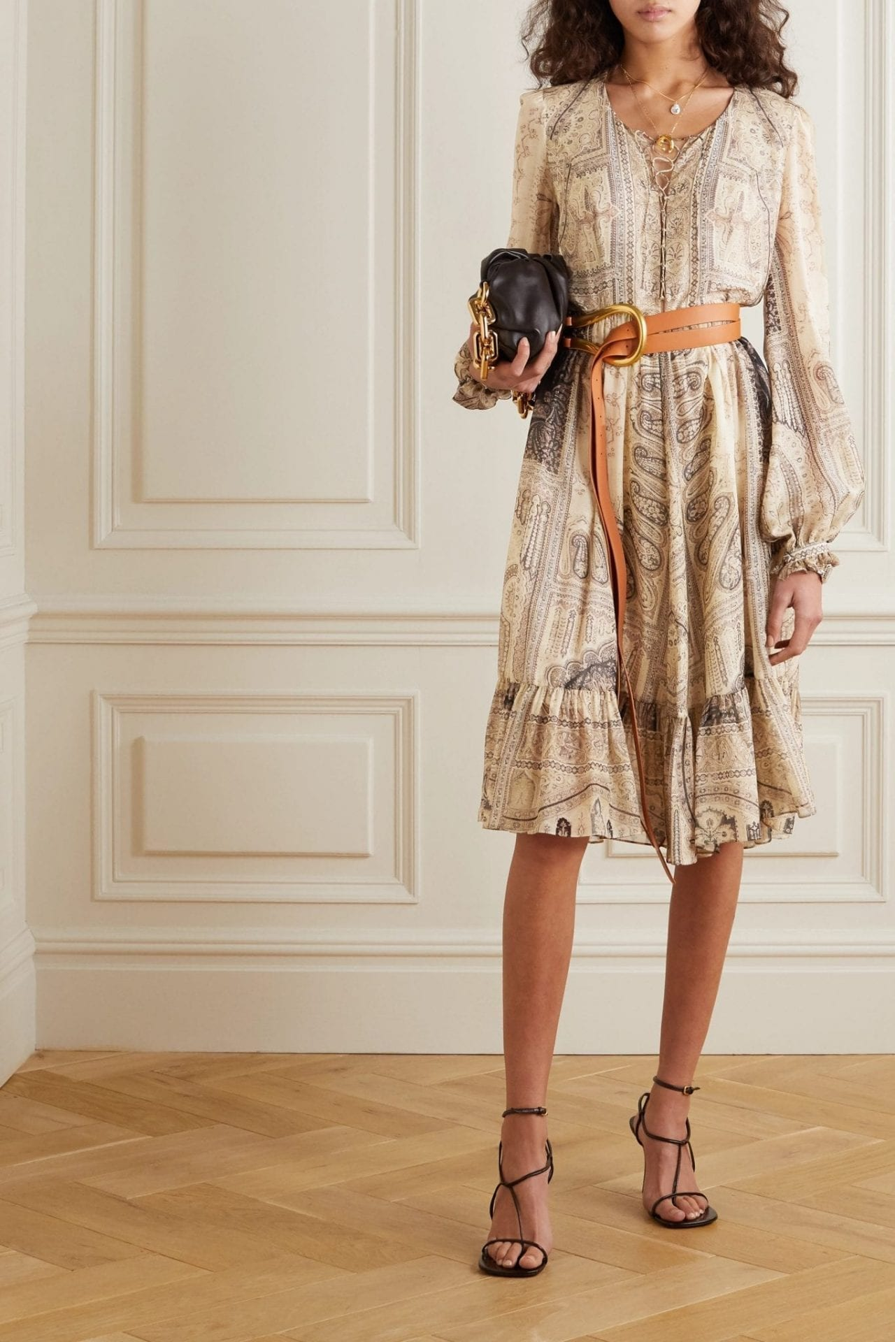 ETRO Lace-up Paisley-print Silk And Wool-blend Dress