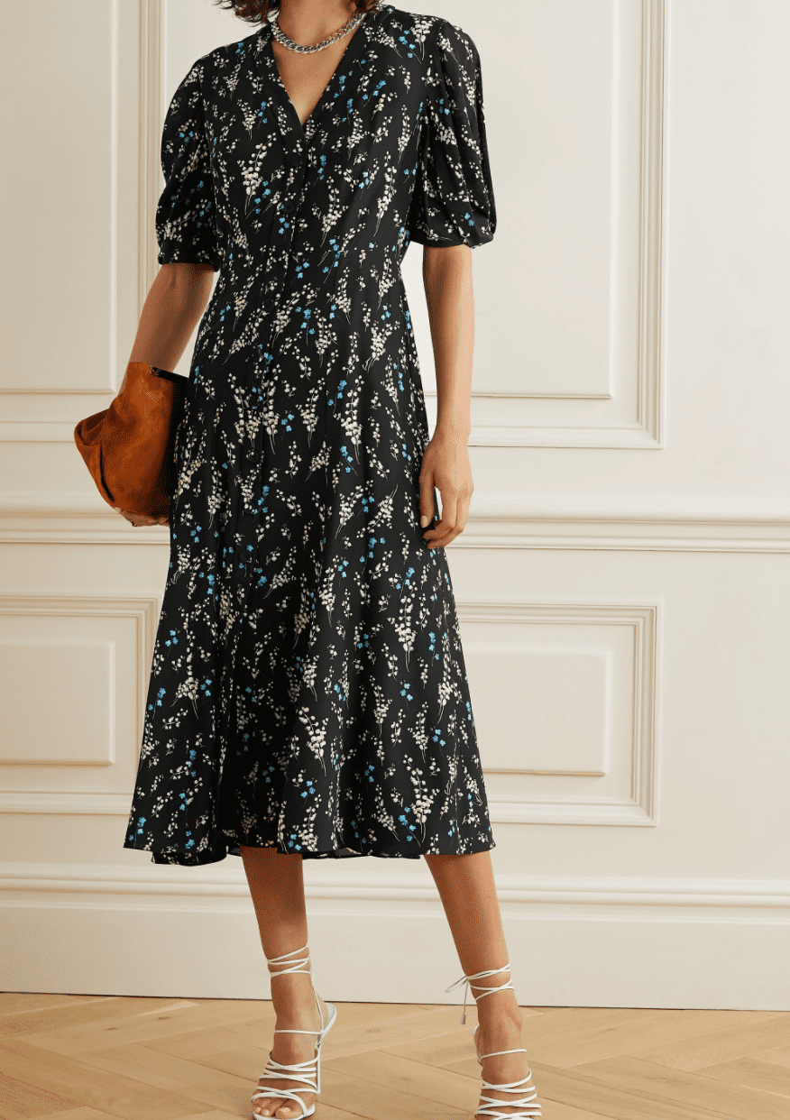 ERDEM Gracelyn Floral-print Silk Crepe De Chine Midi Dress