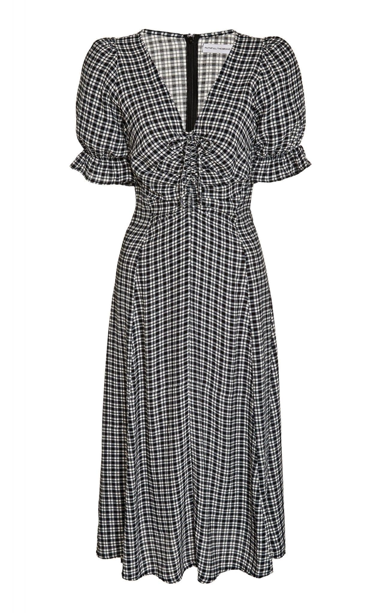 FAITHFULL THE BRAND Amber Ruched Check-Print Crepe Midi Dress
