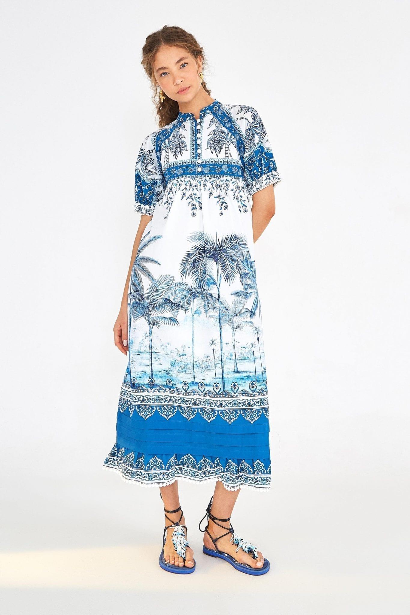 FARMRIO Beach Palm Maxi Dress