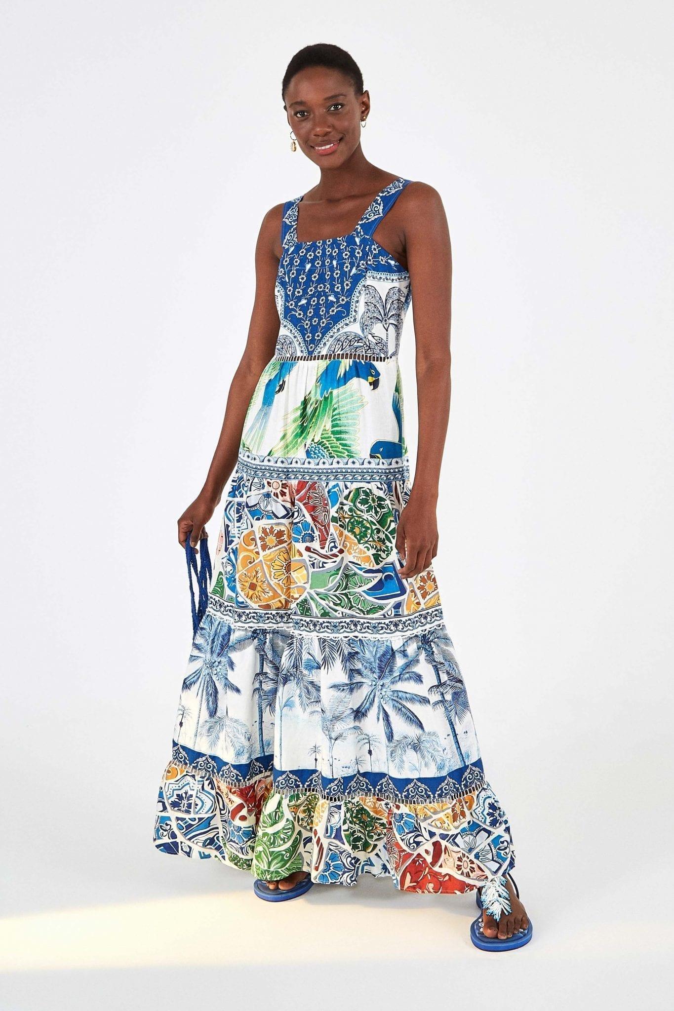 FARMRIO Blue Tile Maxi Dress
