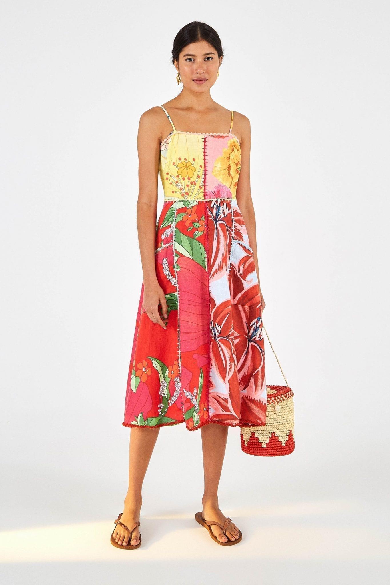 FARMRIO Mixed Garden Linen Midi Dress