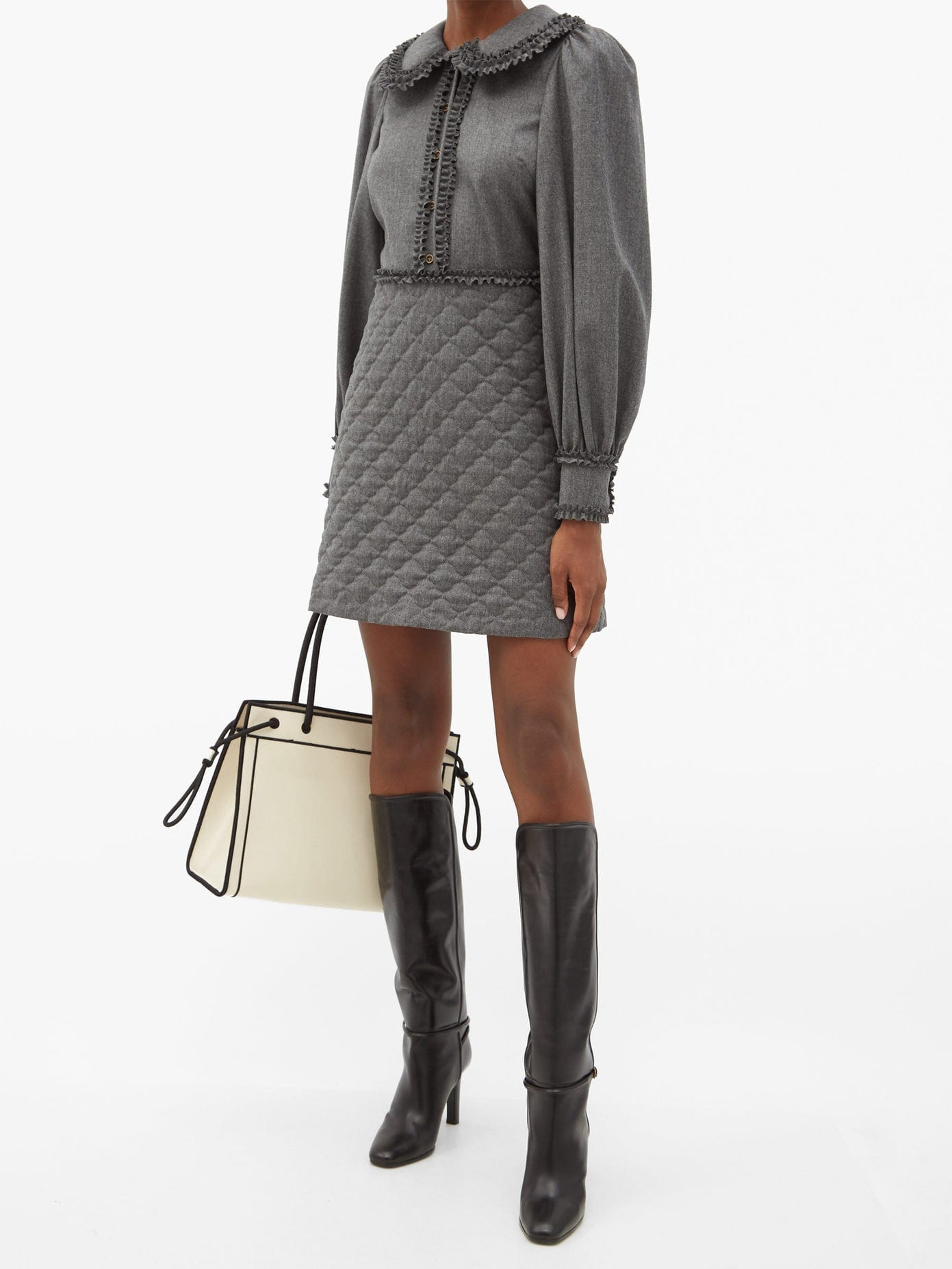 FENDI Quilted & Brushed Wool-twill Mini Dress