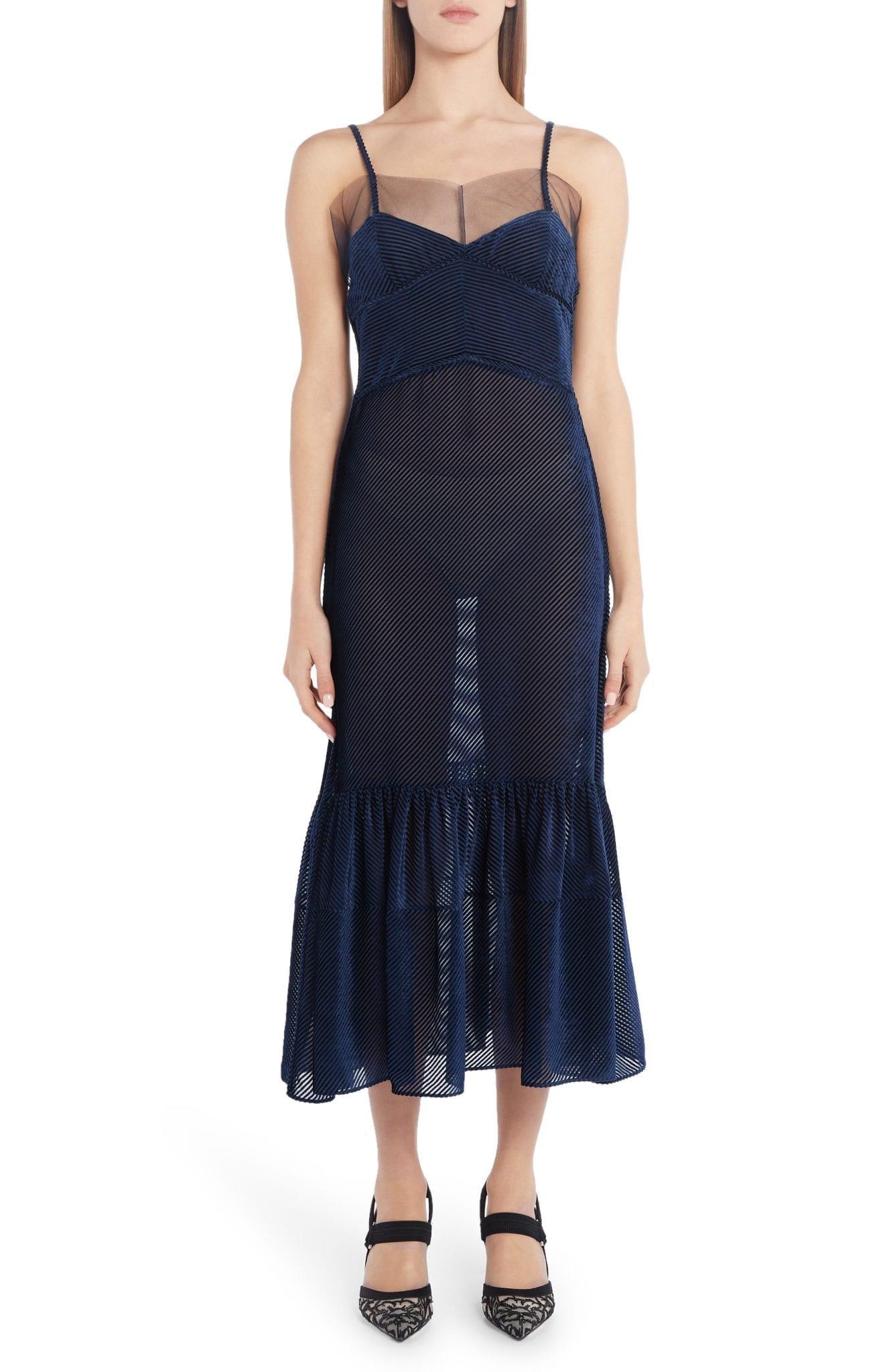 FENDI Tulle Trim Burnout Velvet Midi Dress