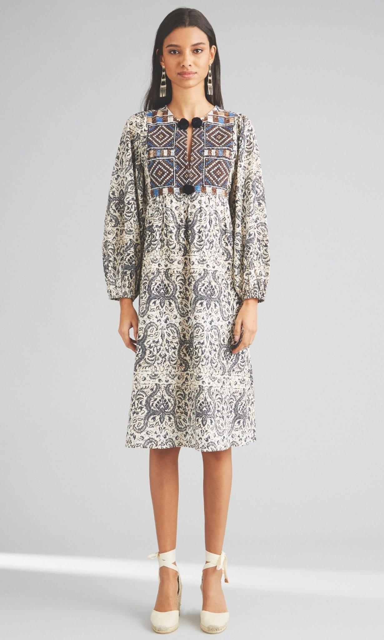 FIGUE Lucie Pom-Pom Cotton Midi Dress