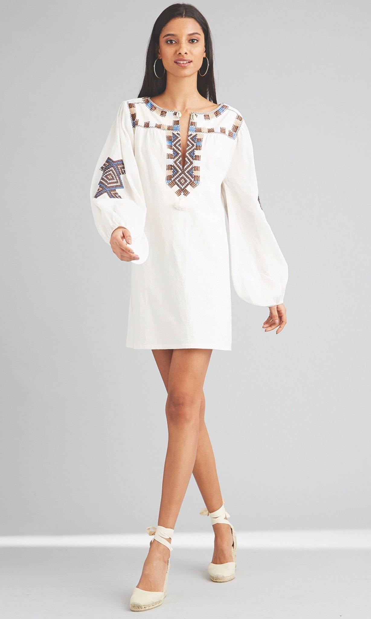 FIGUE Nara Cotton V-Neck Tunic Dress