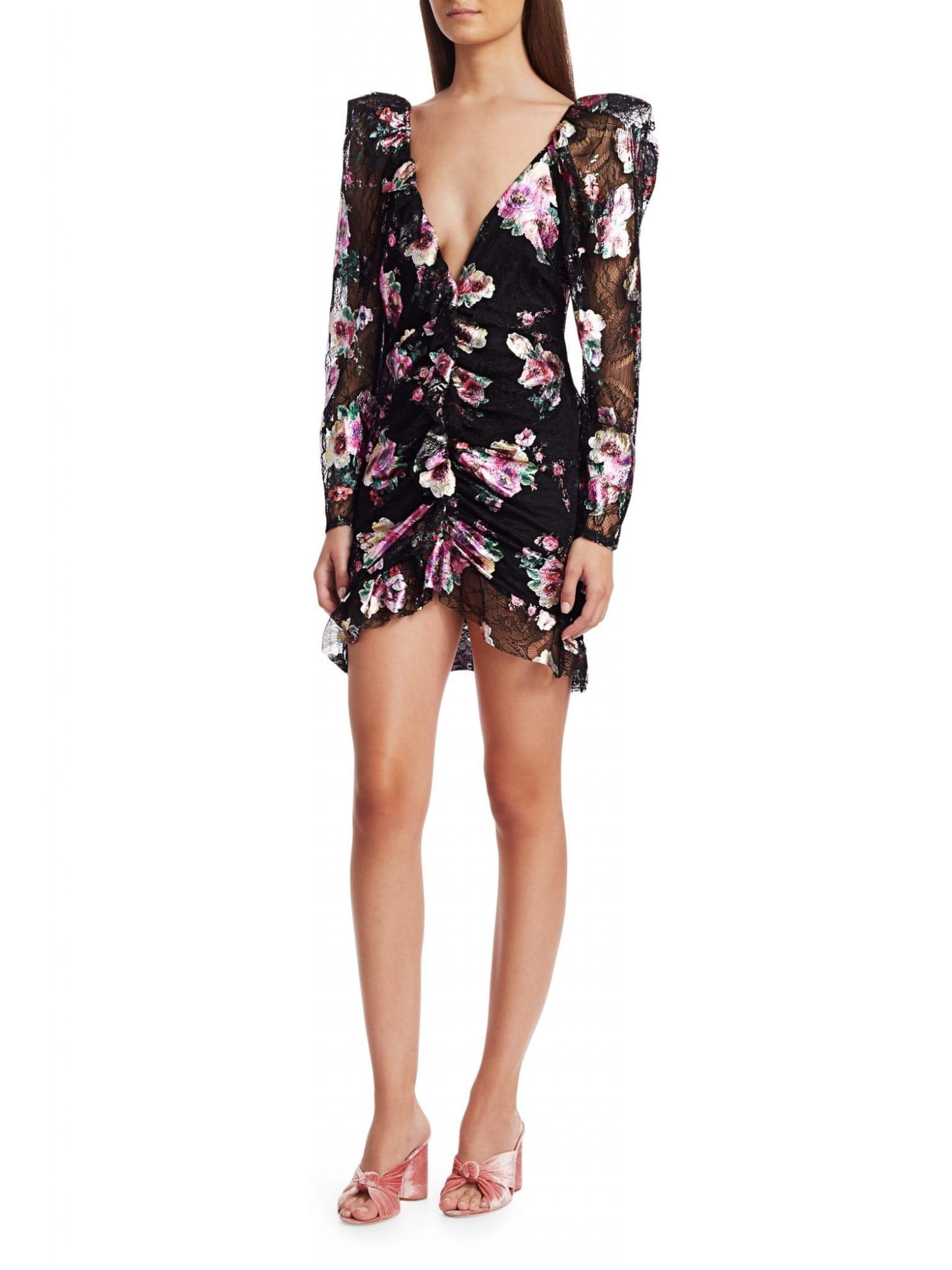 FOR LOVE & LEMONS Benatar Open Back Ruffled Lace Mini Dress
