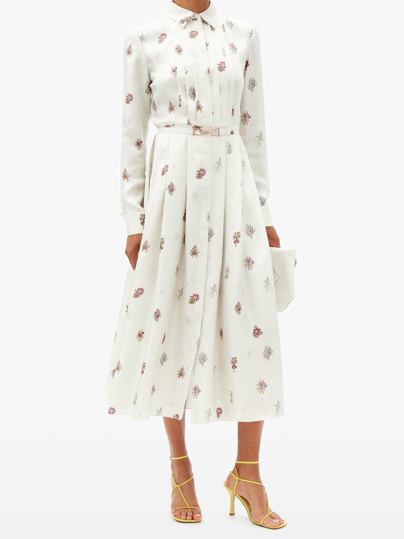 GABRIELA HEARST Claudia Floral-print Silk-twill Midi Shirt Dress