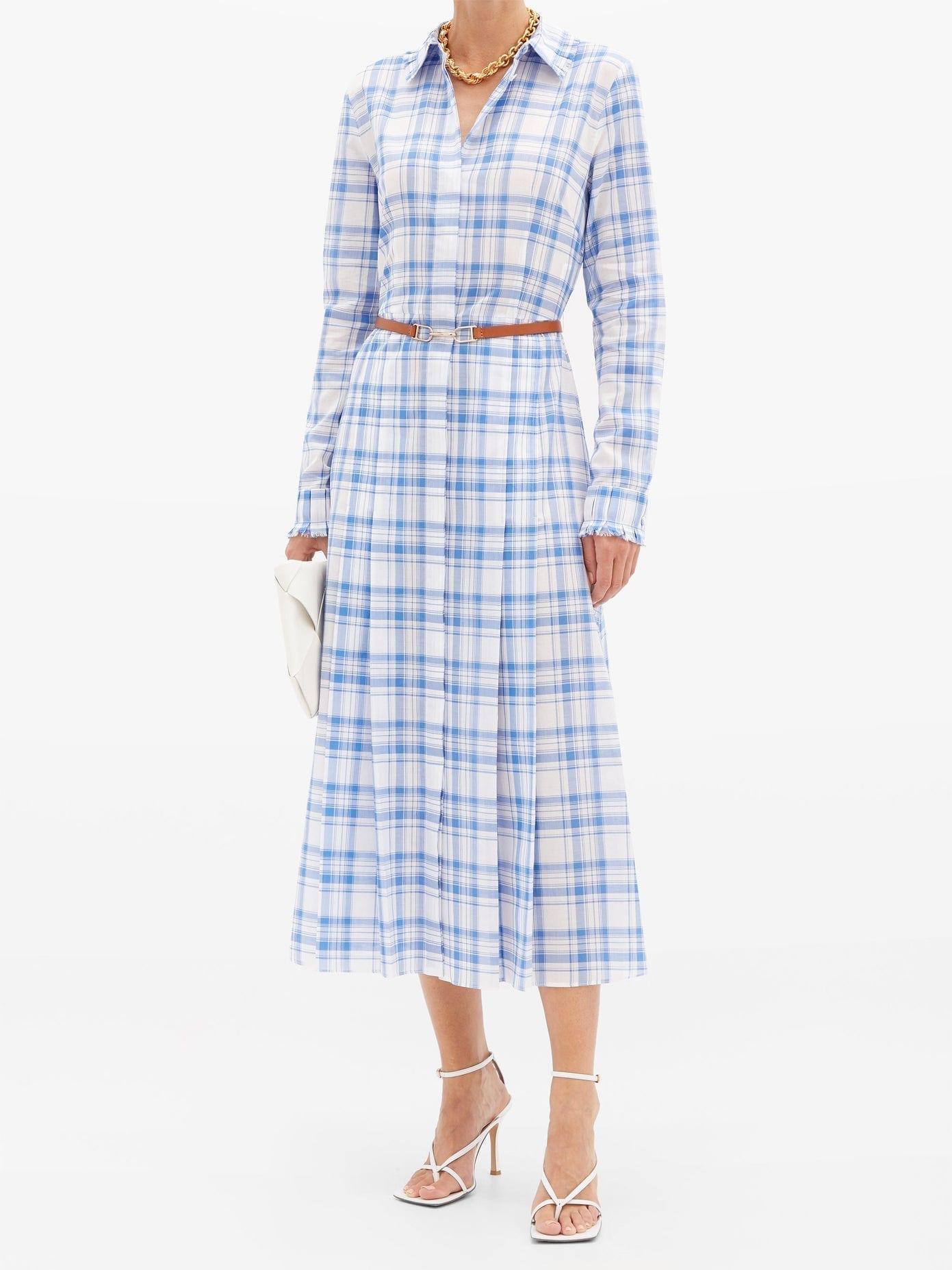 GABRIELA HEARST Jane Belted Checked-cotton Midi Shirt Dress