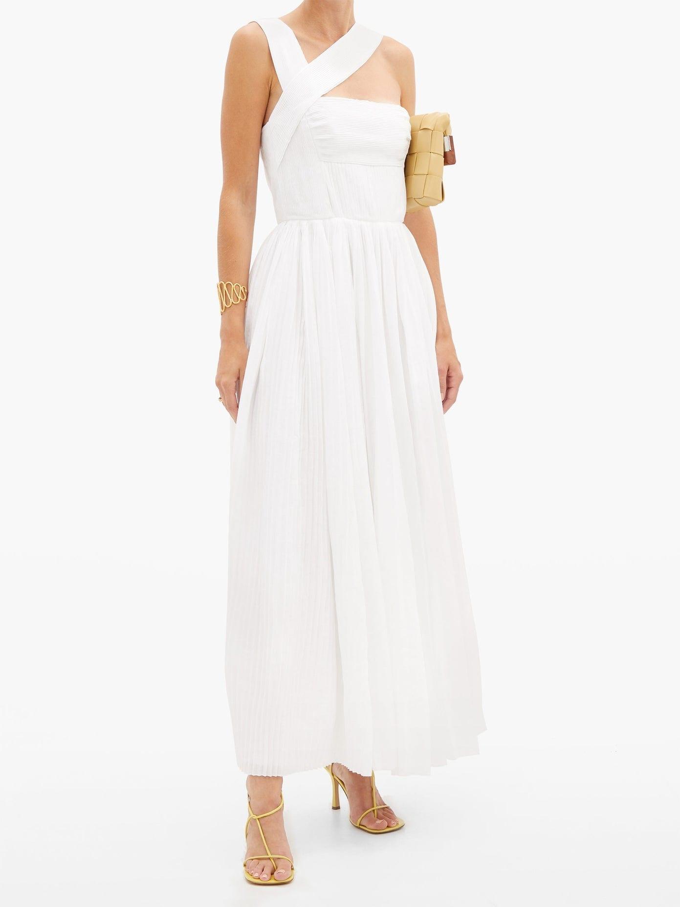 GABRIELA HEARST Norah Asymmetric Pleated Linen Dress