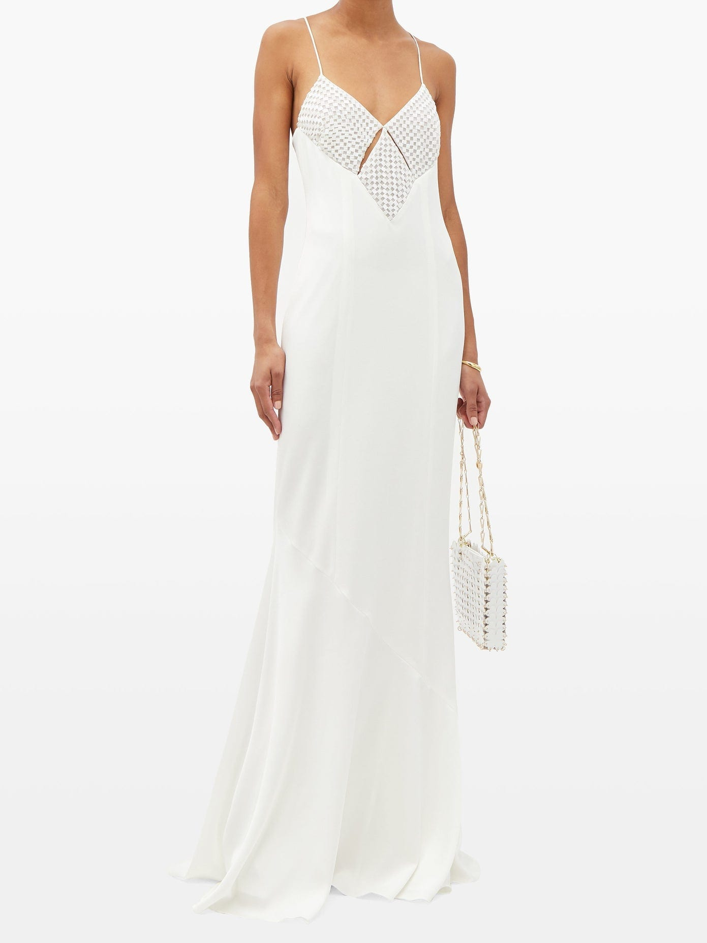 GALVAN Venice Beaded Diamond-panel Crepe Dress