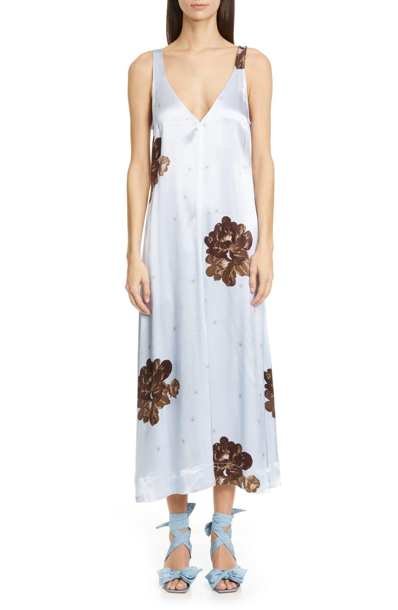 GANNI Floral Print Satin Midi Tank Dress