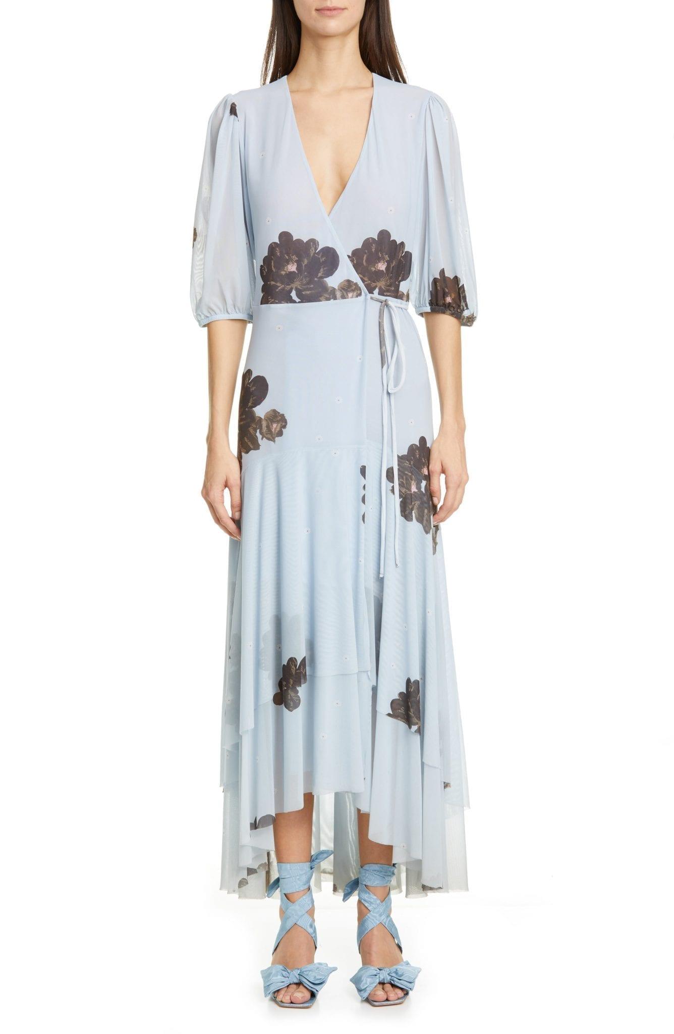 GANNI Floral Print Sheer Mesh Maxi Dress