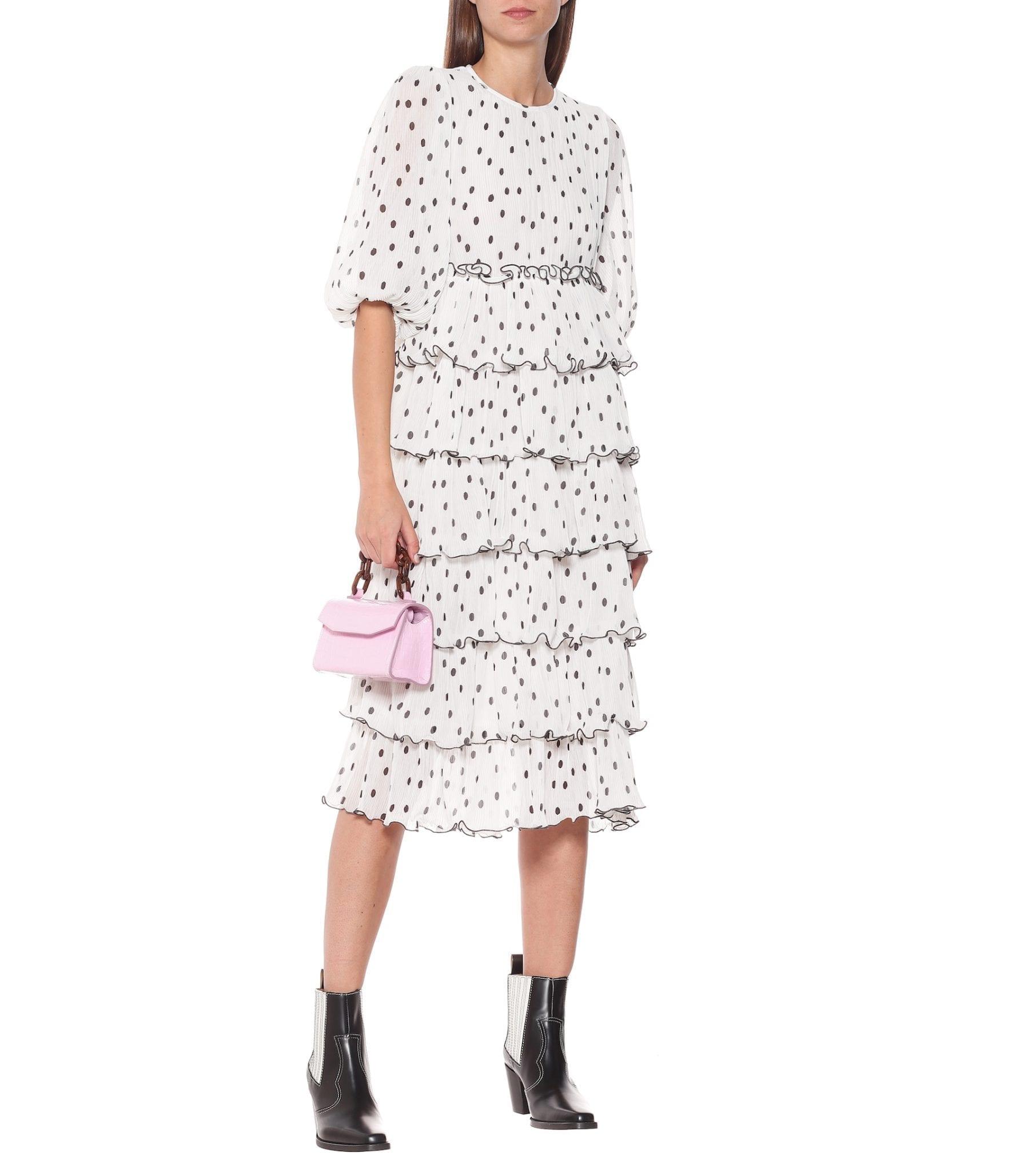 GANNI Georgette Tiered Midi Dress