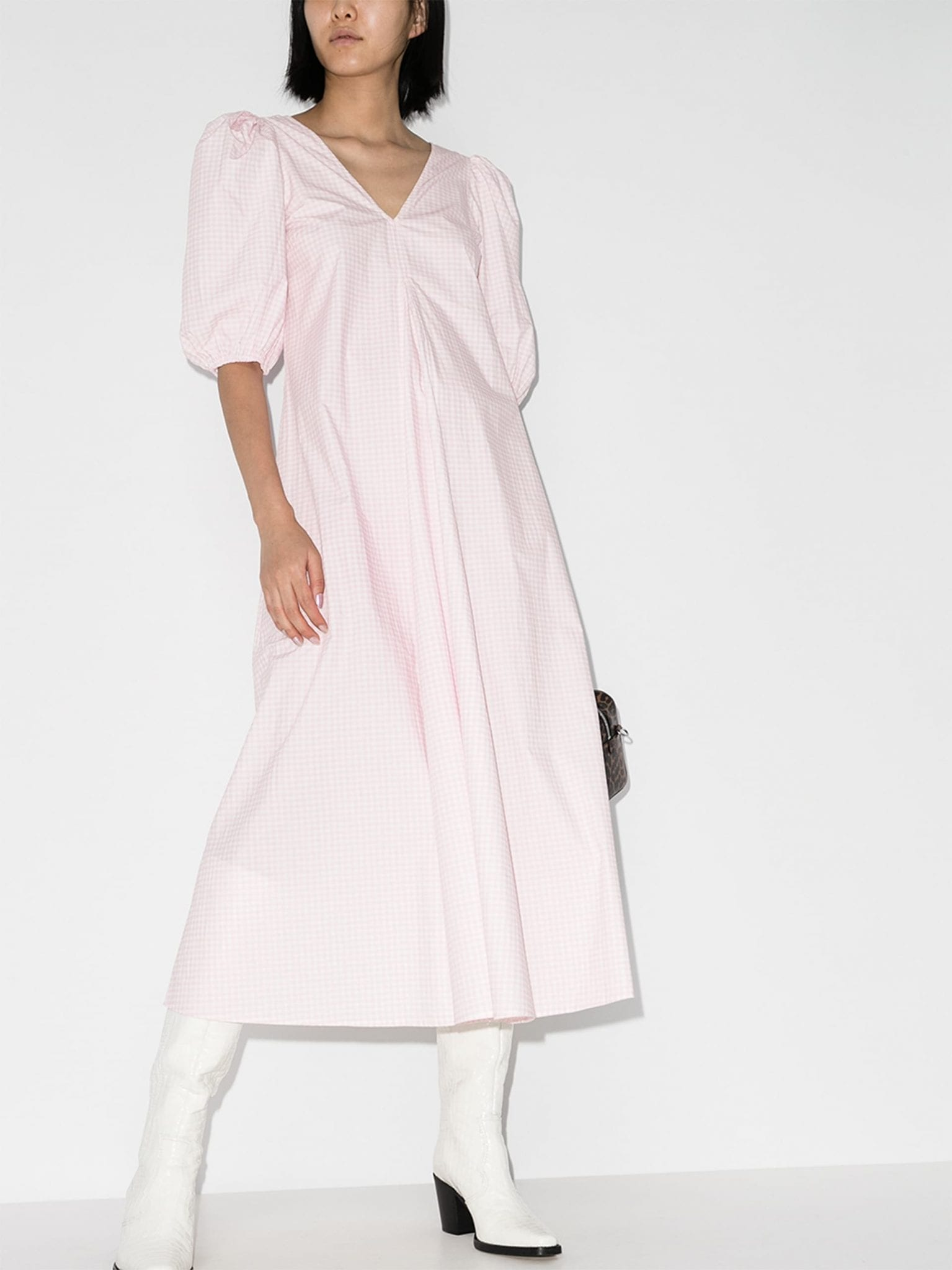 GANNI Gingham Midi Dress