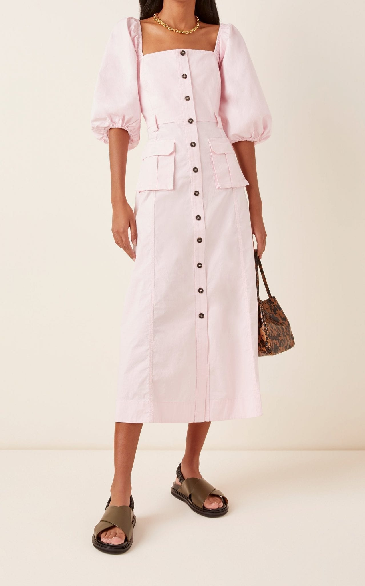 GANNI Ripstop Cotton Chino Dress