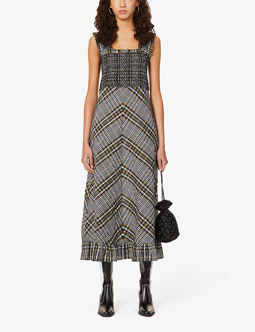 GANNI Seersucker-check Cotton-blend Midi Dress