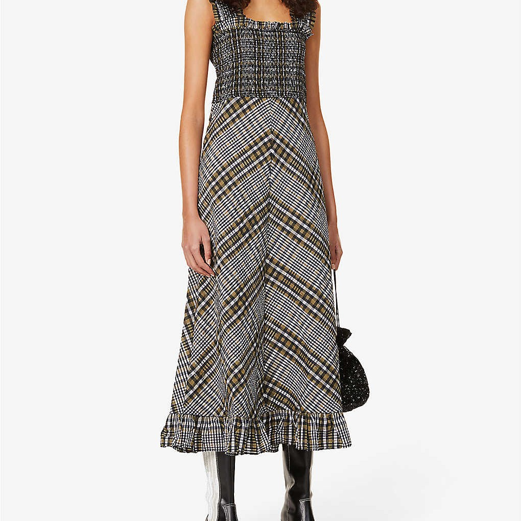 Ganni Seersucker Check Cotton Blend Midi Dress We Select Dresses