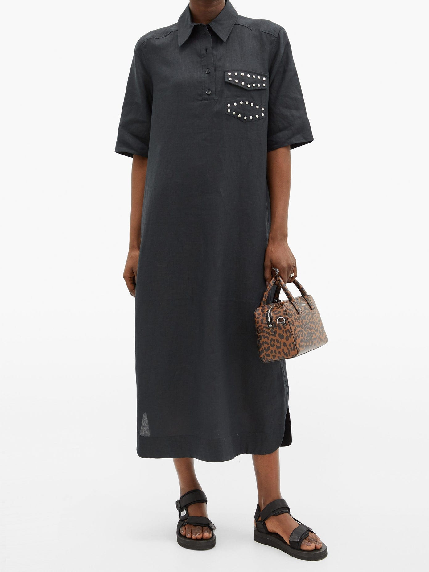 GANNI Studded-pocket Linen-poplin Longline Dress