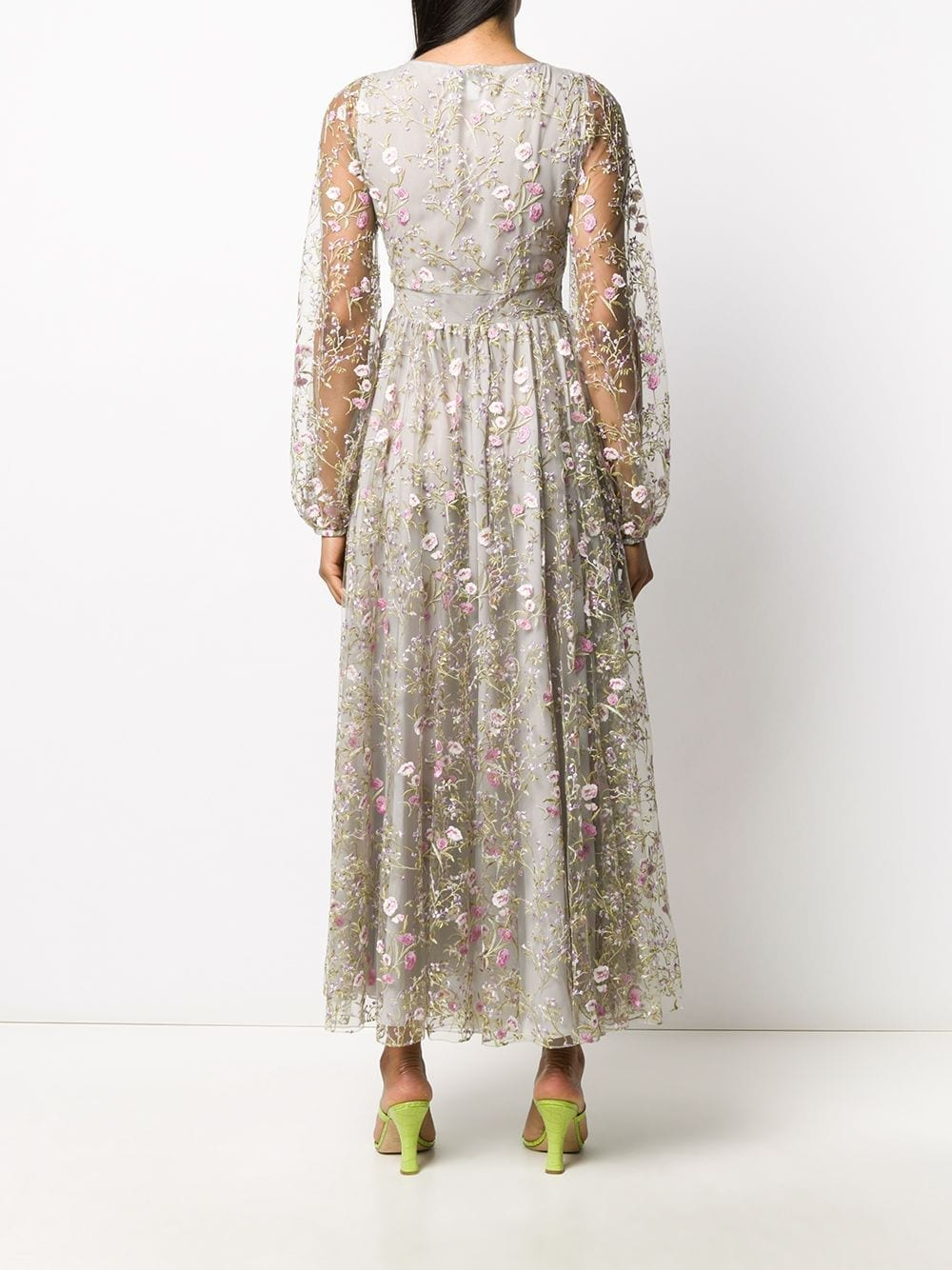 GIAMBATTISTA VALLI All-over Floral Embroidered Sheer Puff Sleeves Dress