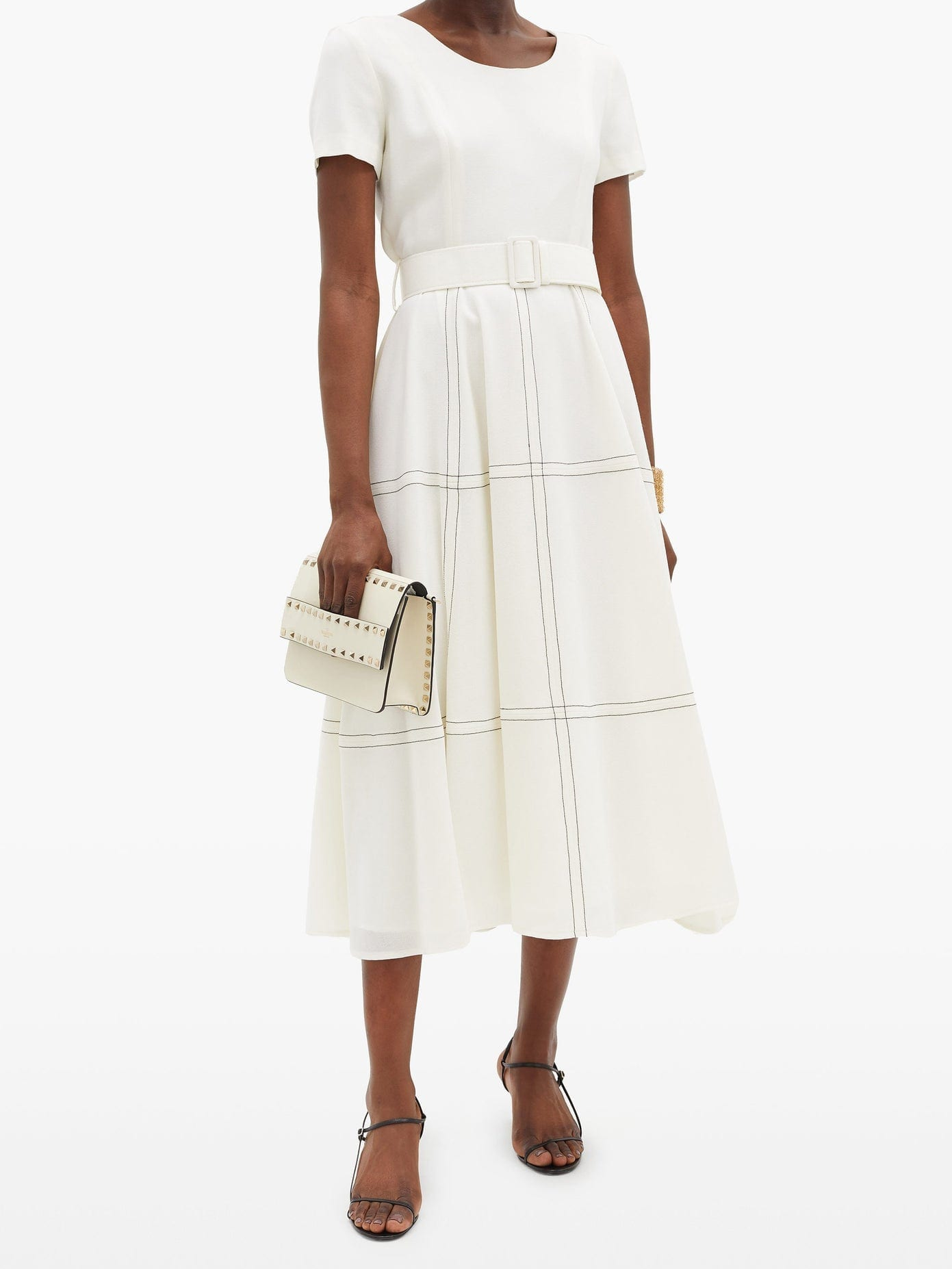 GOAT Kelly Belted Topstitched Wool Midi Dress