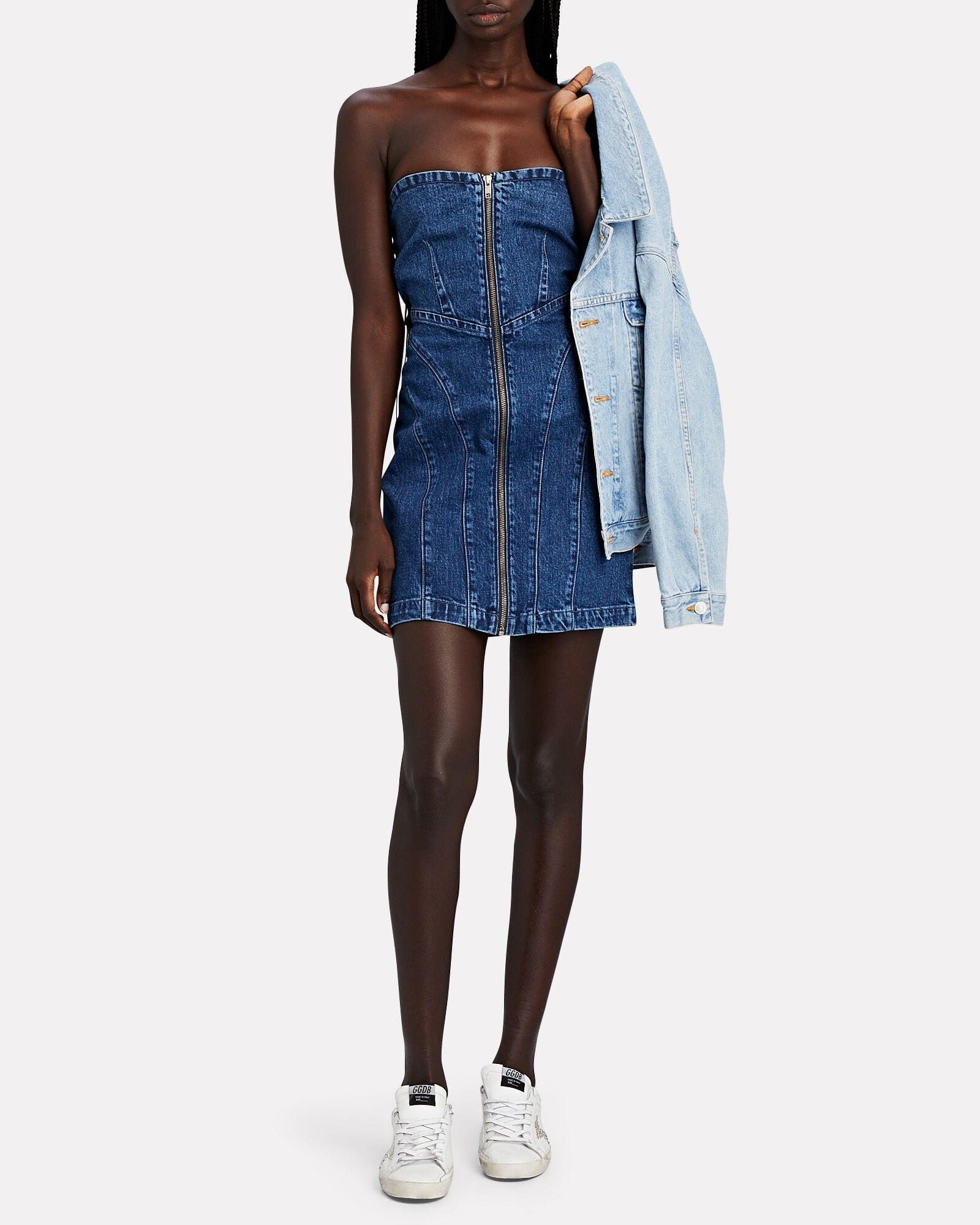 GRLFRND Isabella Strapless Denim Mini Dress