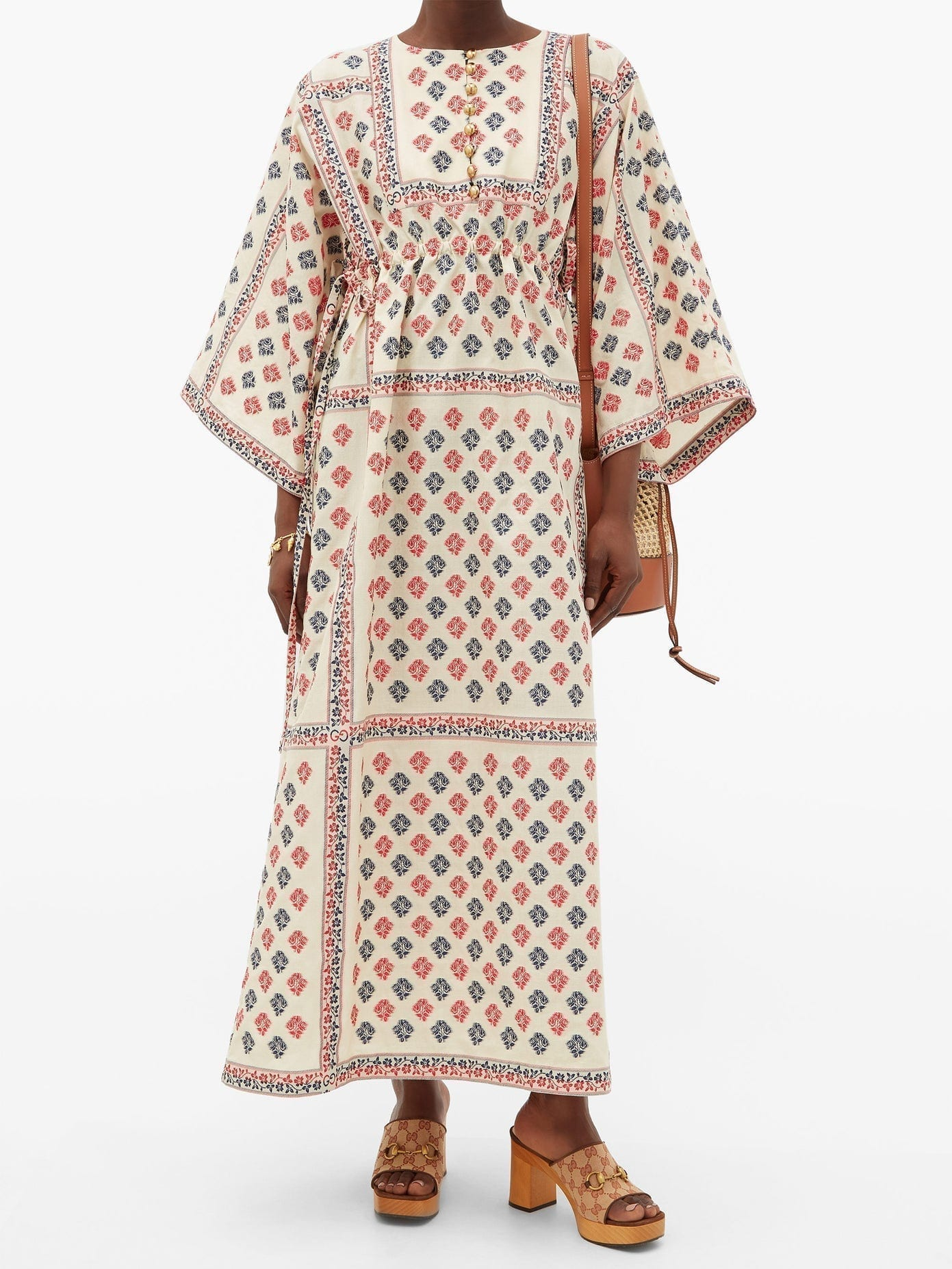 GUCCI Floral Cotton-blend Jacquard Kaftan Dress