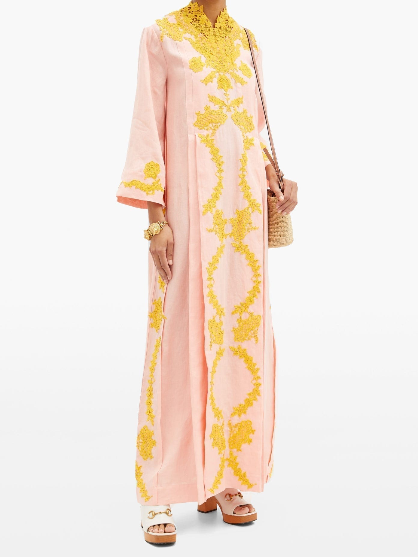 GUCCI Floral Lace-appliqué Linen Kaftan Dress
