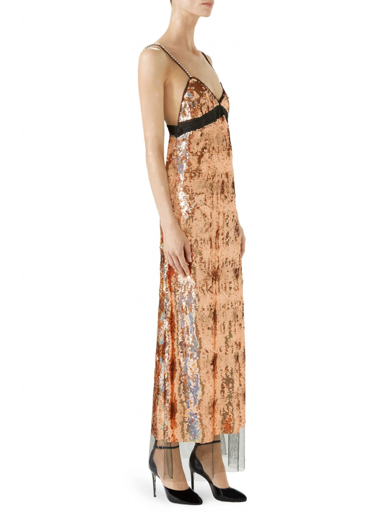 GUCCI Sequin Embroidered Tulle Dress