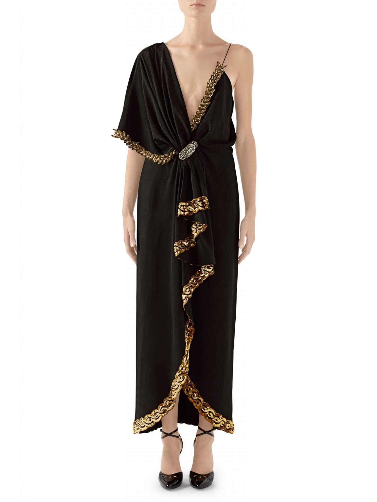 GUCCI Stretch Silk Leaf Embellished One-Sleeve Dress