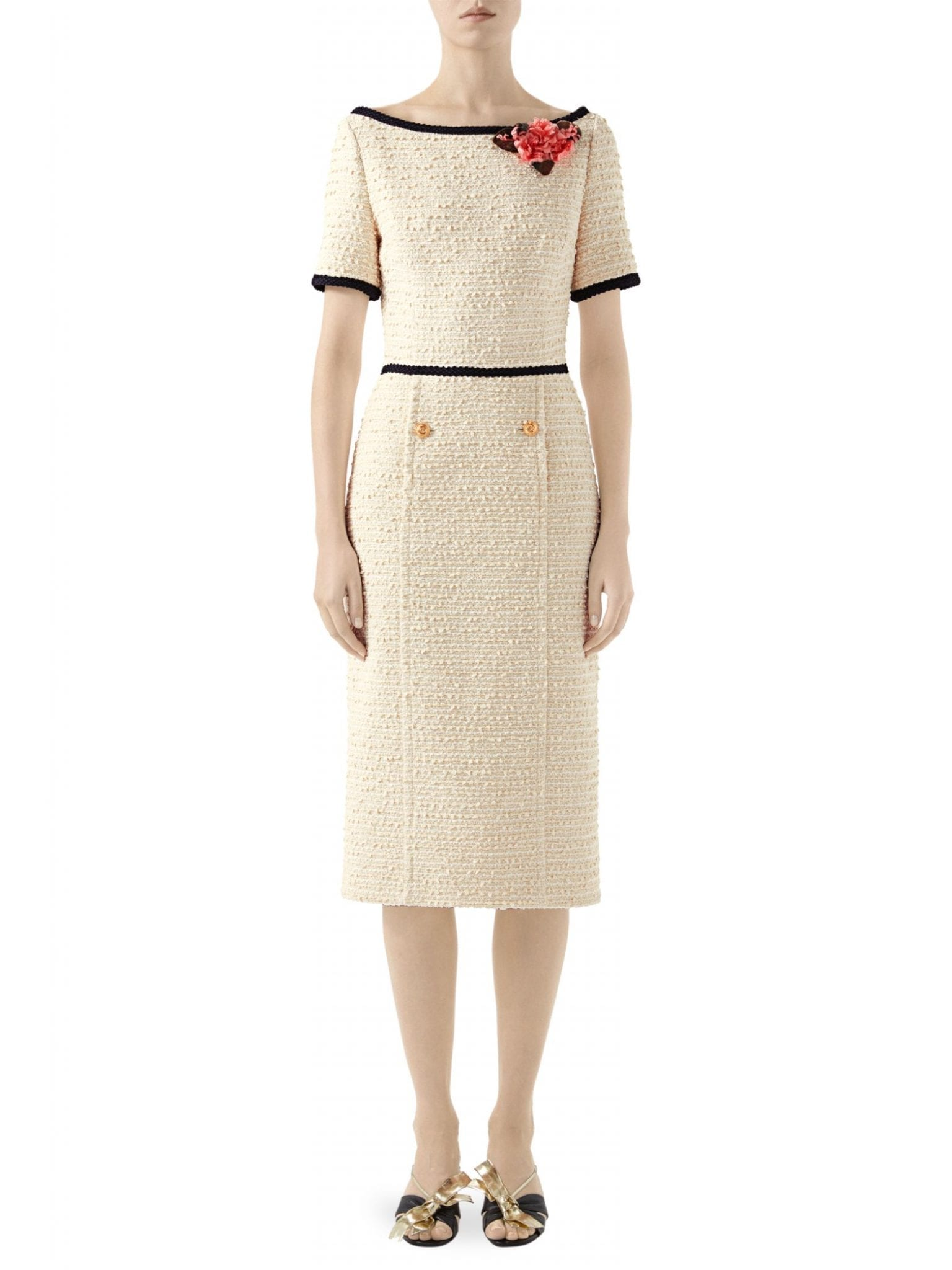 GUCCI Sylvie Boucle Tweed Boatneck Dress