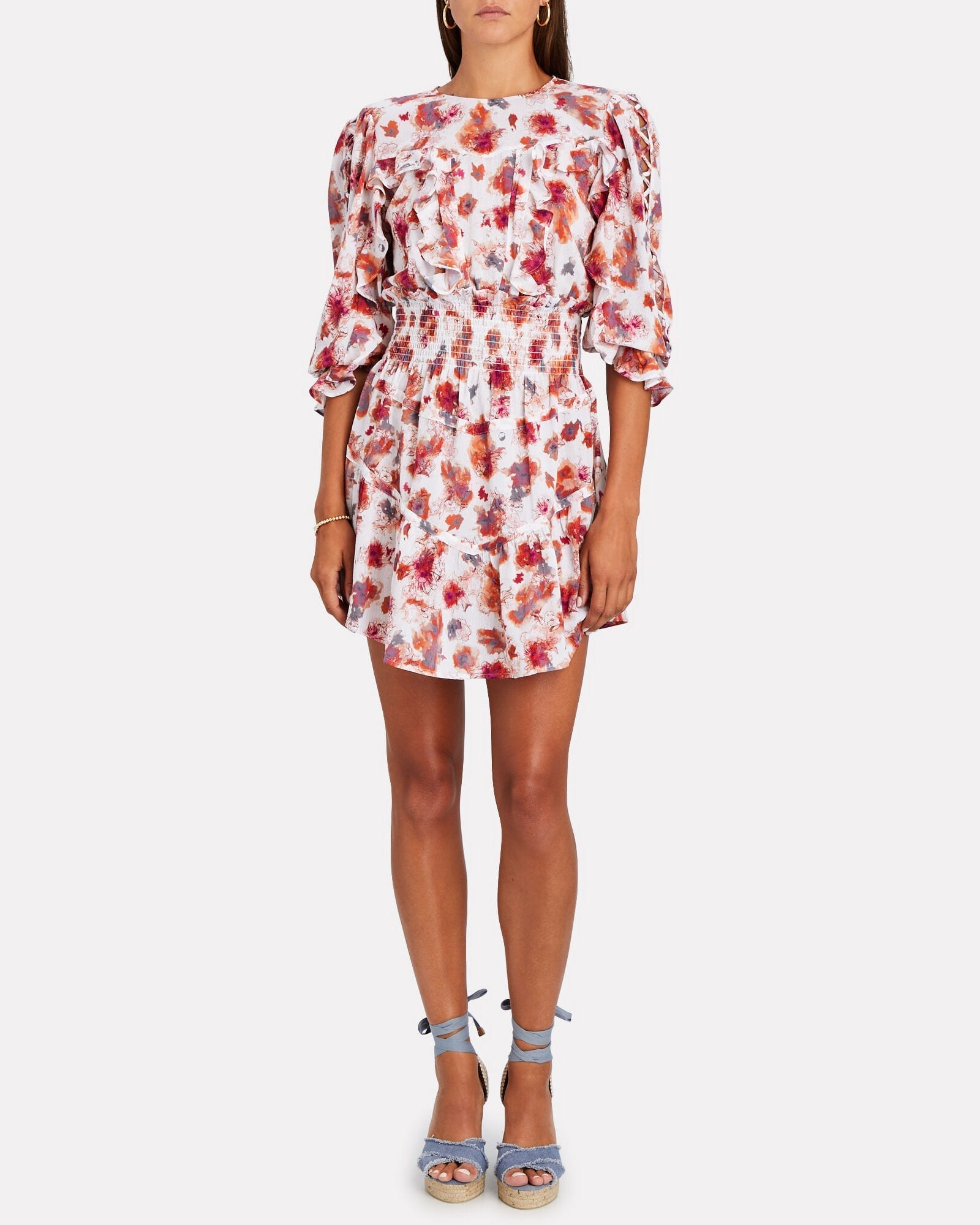 IRO Showoff Smocked Floral Mini Dress