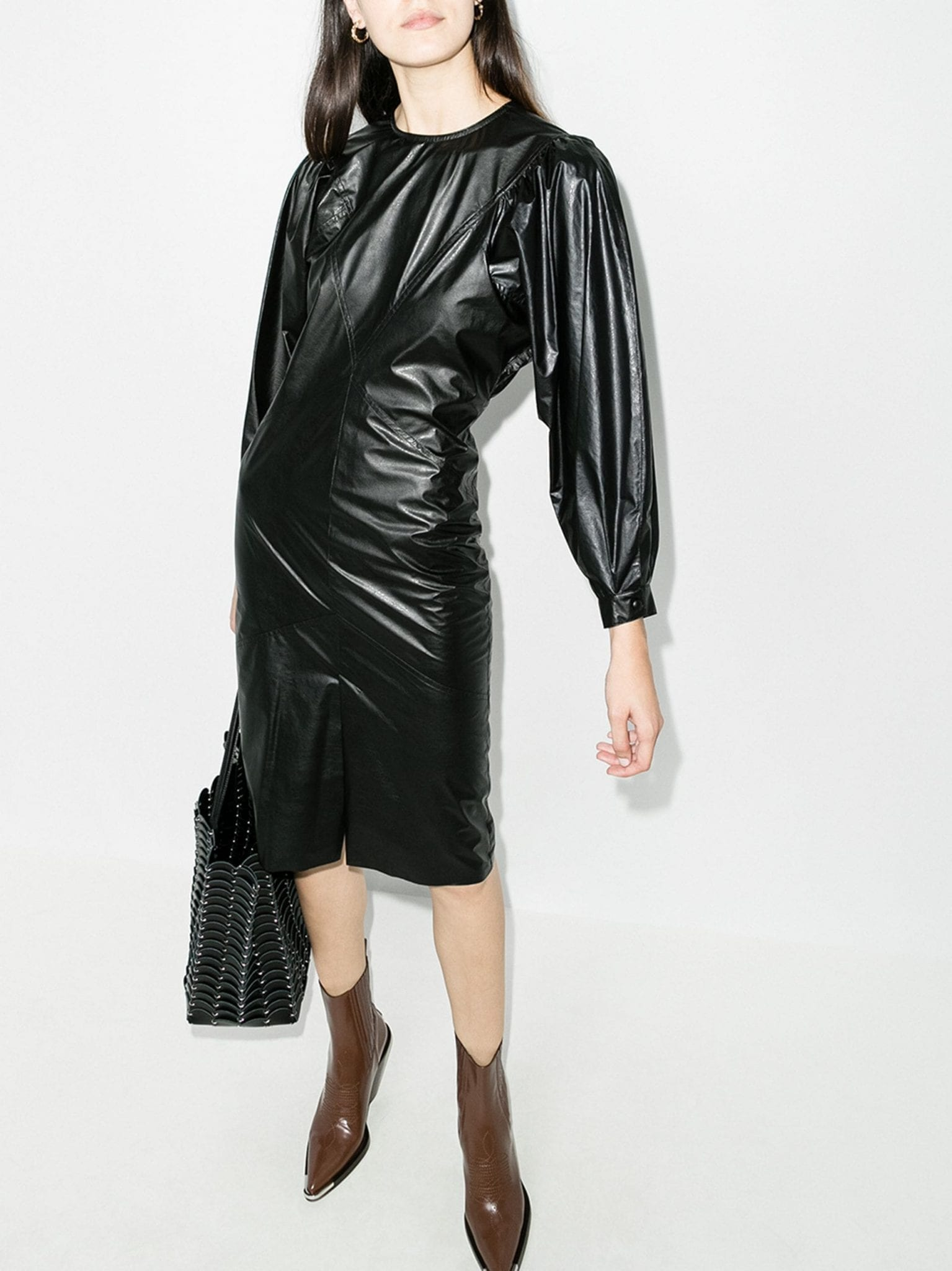ISABEL MARANT Pouf Sleeve Faux Leather Midi Dress