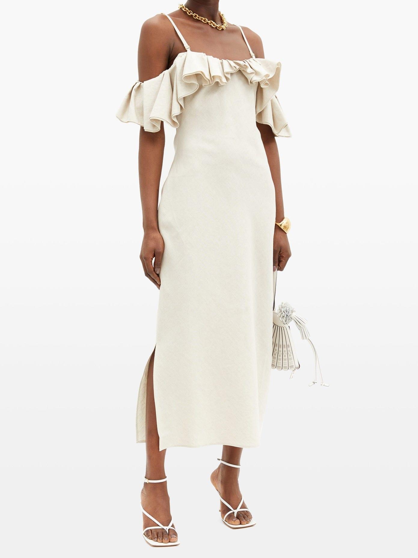 JACQUEMUS Pampelonne Off-the-shoulder Cotton-blend Dress