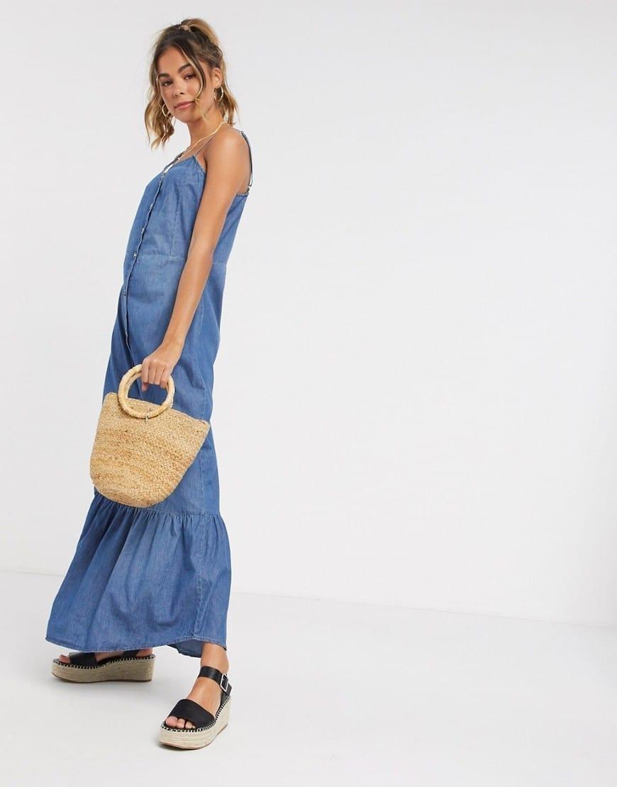 JDY Denim Cami Straps Maxi Dress