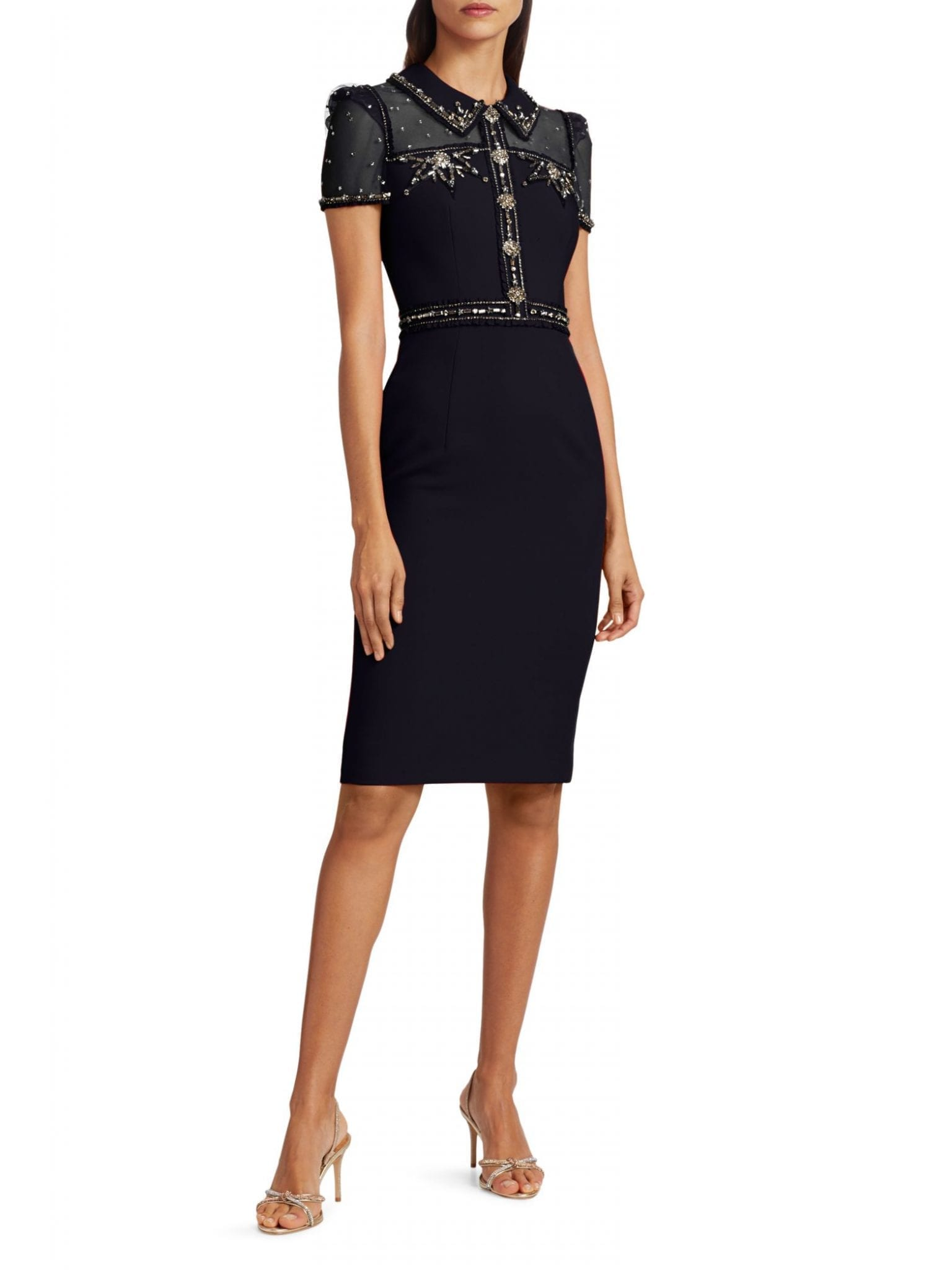 JENNY PACKHAM Dolly Illusion Collared Crepe Cocktail Dress