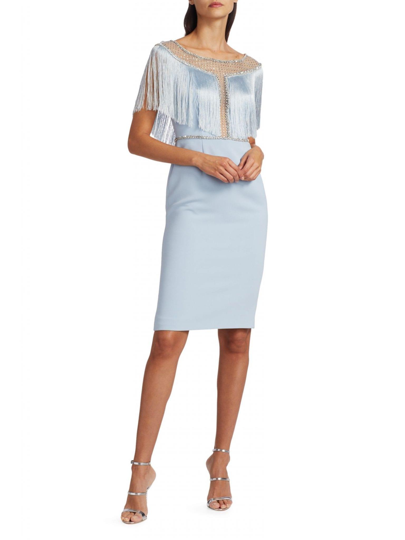 JENNY PACKHAM Jolene Crepe Crystal Illusion Fringe Dress