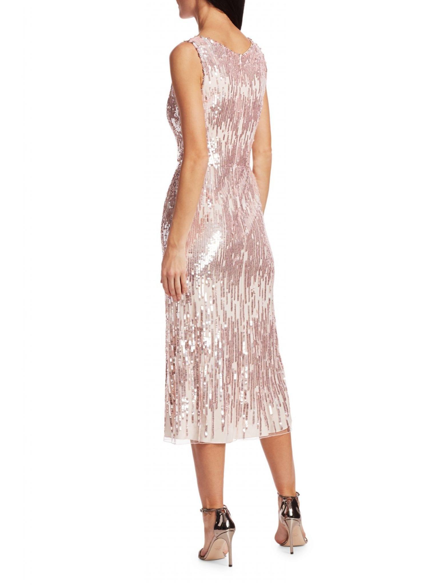 JENNY PACKHAM Sleeveless Sequin Tea Length Dress