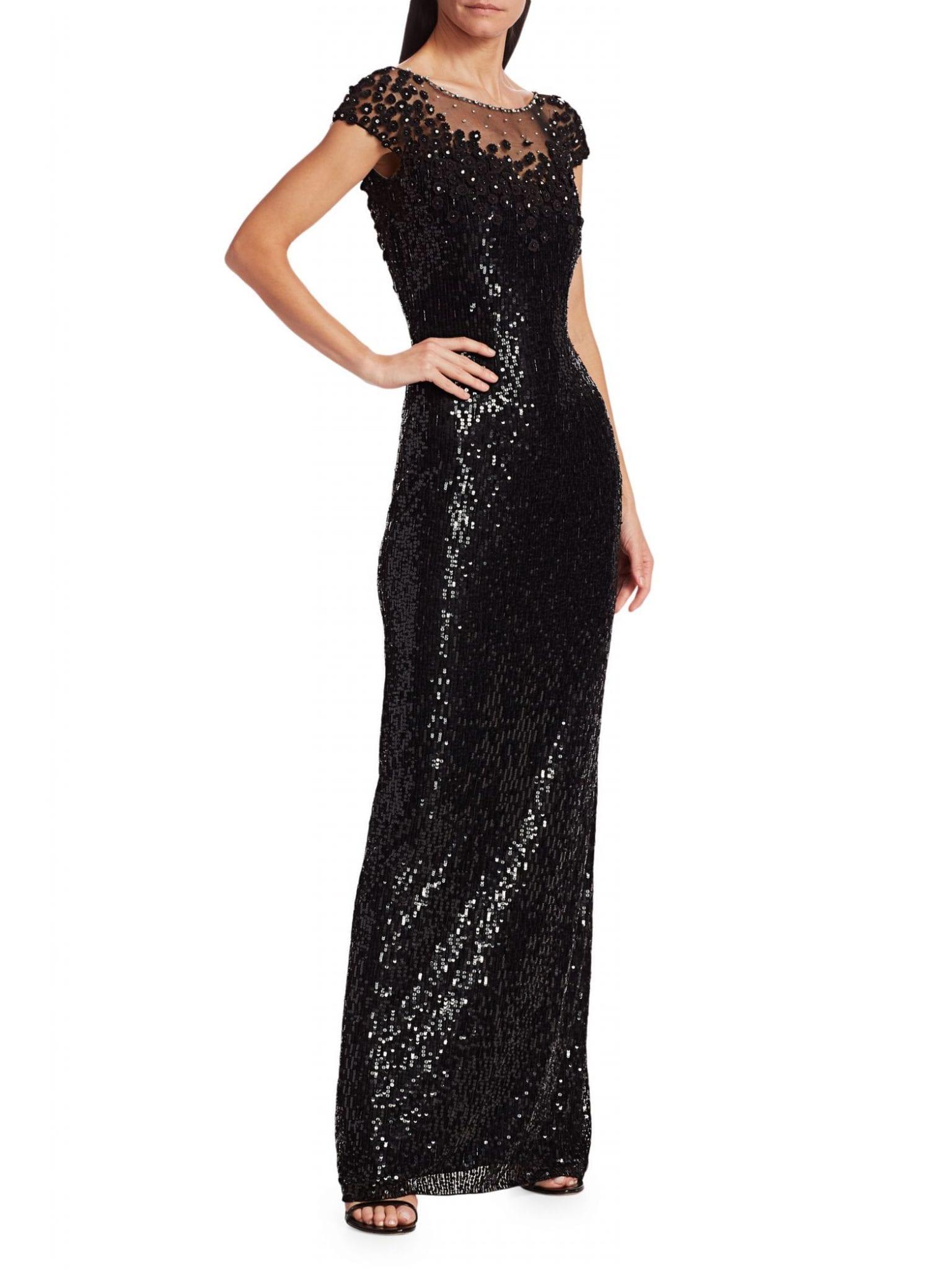 JENNY PACKHAM Suzette Sequin Cap-Sleeve Gown