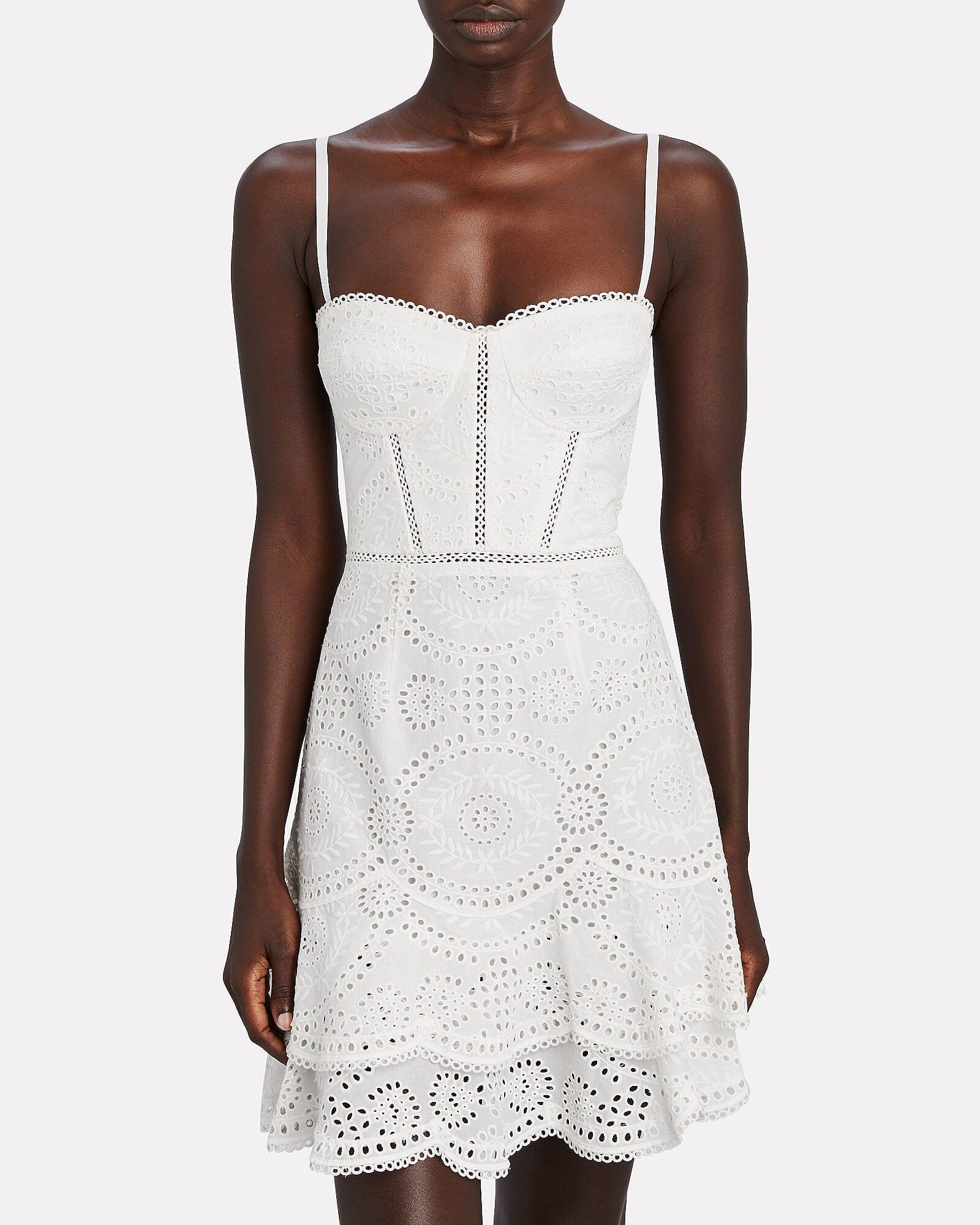 JONATHAN SIMKHAI Broderie Anglaise Bustier Mini Dress