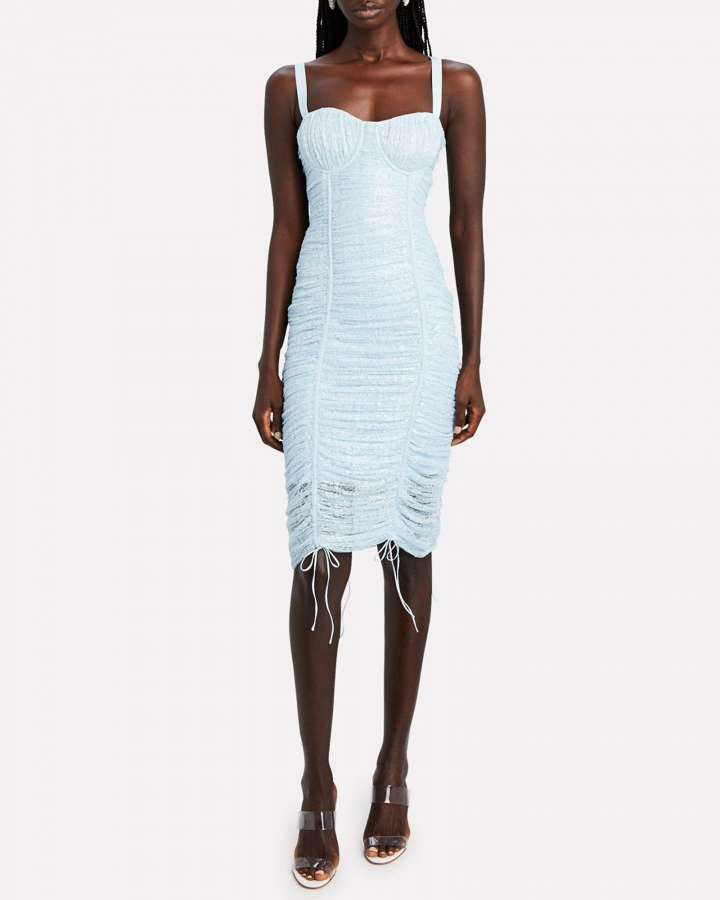 JONATHAN SIMKHAI Naia Ruched Lace Midi Dress