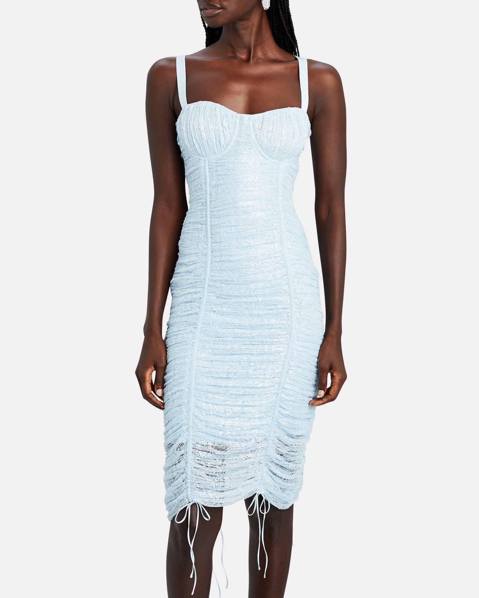 JONATHAN SIMKHAI Naia Ruched Lace Midi Dress