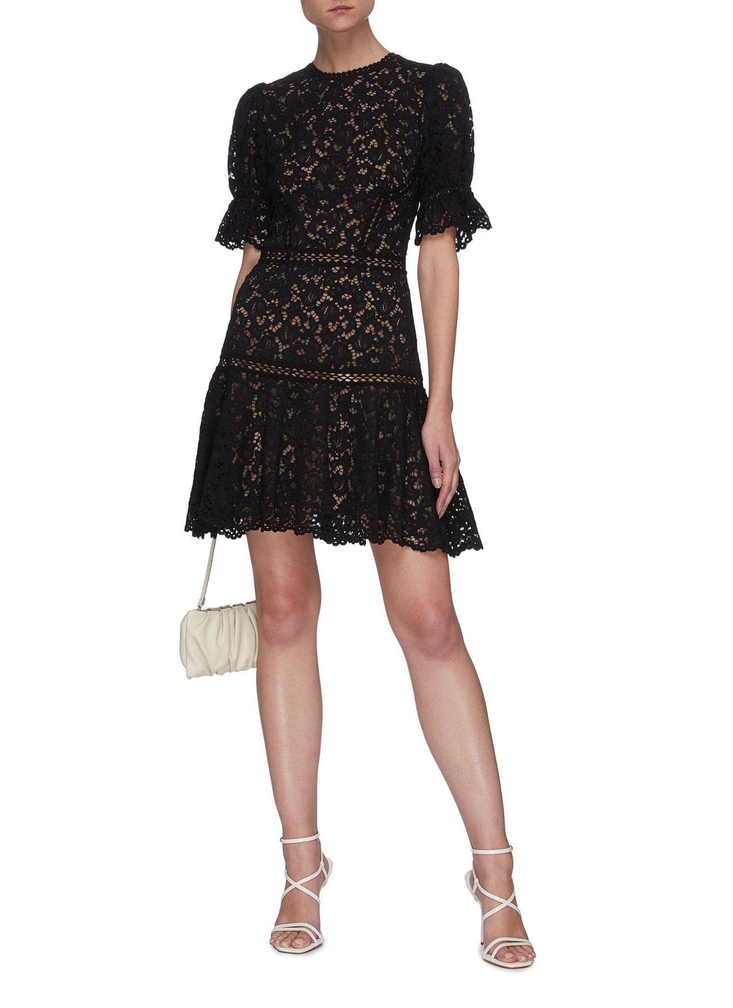 JONATHAN SIMKHAI Puff Sleeve Lace Mini Dress