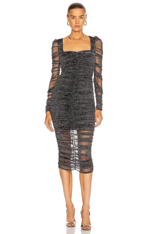 JONATHAN SIMKHAI STANDARD Long Sleeve Ruched Midi Dress