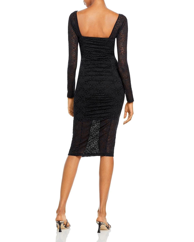 JONATHAN SIMKHAI STANDARD Ruched Long Sleeve Lace Dress